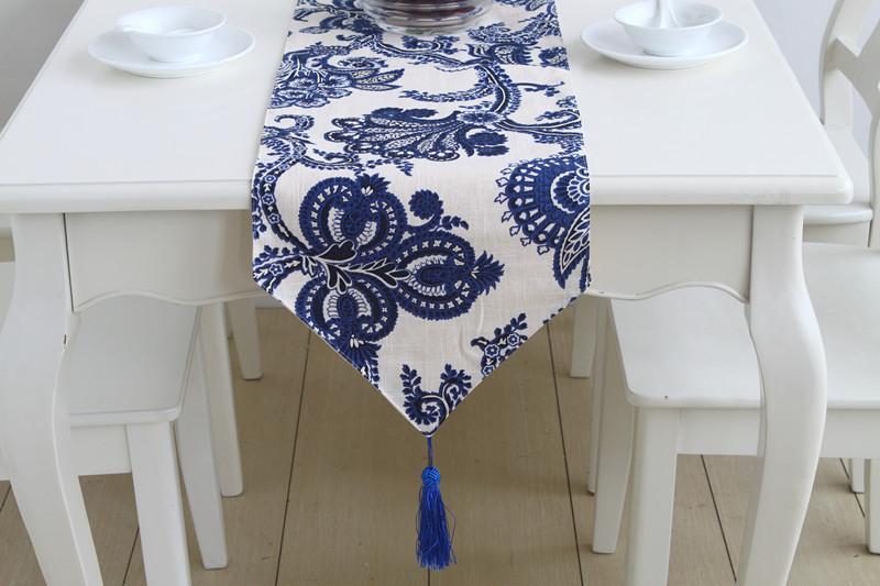 product LUCK100 European classical style upscale blue linen table runner Table Runner tablecloth caminho de mesa 3d wedding table cloth