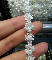 Hot Selling white Bead Trim Sewed on Lace Trim Webbing Approx 1.0cm Width Handmade Used for DIY crafts Jewelry Free Shipping