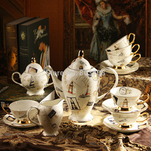 Free shipping 2014 15 English bone china coffee set suit afternoon tea ceramic coffee cup and saucer