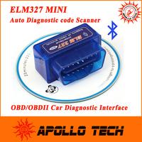 2015 New Release Super Mini ELM327 Bluetooth V2.1 OBD2 auto code reader mini327 Car diagnostic interface ELM 327 FREE SHIPPING
