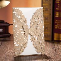 50 sets(Card+envelop+seal) Luxury Laser Cut Wedding Invitations Cards Engagement Gatefold Invite 18.5*12.7cm Wedding Favours