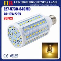 50X E27 E14 B22 Base 5730 Chips 84 SMD LED Corn bulbs White/Warm white 20W 1800LM AC110/220V LED lamp Free FEDEX shipping