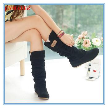 Enmayer Размер34-43 новых мужчин зимние квартиры круглый носок мода колено высокие ...