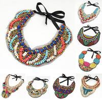 Fashion Bohemia Black Ribbon Handmade Colorized Resin Seed Beads Big Pendant Choker Statement Bohemia Necklace Jewelry PNE2021