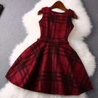 2014 news high quality british style dress plaid Dress  women dress