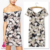 2015 New Fashion Celebrity Retro Dresses Lady Garden Slash Neck Strapless Flower Pattern Stretch Bodycon Mini Dress Hot Sale