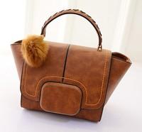 2015 New fashion bags 6 colors wings wave bag fur ball bag lady bag shoulder handbag baodan foreign trade handbags wholesale
