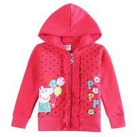 New Peppa pig children jacket Nova kids clothing with beautiful cartoon flowers baby girls autumn winter hoody jacket coat F5210