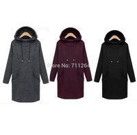 NEW Women Long Sweatshirt Hood Long Velvet Cotton dress Black Gray Wine red