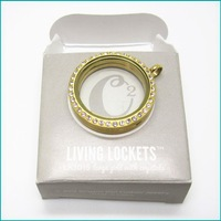 Free shipping  ORIGAMI OWL 30MM GOLD CRYSTAL LOCKETS WITH ORIGAMI OWL BOX