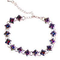 2015 New Mysterious Rainbow Sapphire 925 Silver Bracelet Fashion Jewelry For Women Free Shipping Wholesale 17.5-23.5CM
