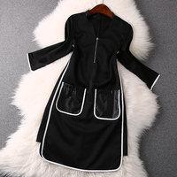 2014 news high quality leather pocket V-neck dress women dress