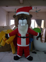 Factory Direct Fashion big tooth Christmas bear brown  Fancy Dress Mascot Costume Adult Character Cosplay free shipping