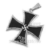 Free Shipping! 1939 World War II German Army Iron Cross Pendant Stainless Steel Jewelry Black Cross Motor Biker Pendant SWP0300A