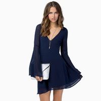 2015 New Both slotted back buckle halter elegant long-sleeved chiffon dress ultra cents V-Neck dress A130