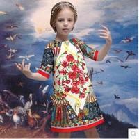2015 new spring & summer European style girl flower palace print half-sleeve dress baby girls brand designer A-line dresses 3-12