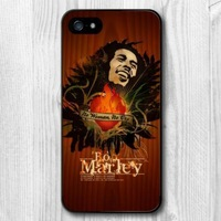 New Case For iPhone 6 5 5S 5C 4 4S and 6 Plus Bob Marley On Wood Protective Hard Cover Cases (Printed Wood)