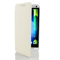 White Super Thin Premium Hard PC Back Case Fashion Cover Protective Skin Shell +Flip Front Leather Cover For HTC ONE M7 801e