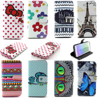 Owl Cartoon Printing PU Leather Flip Case For Samsung Galaxy Alpha G850 G850F Bow Soft Silicone Back Cover Stand Wallet Cases