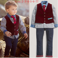 Free shipping The Boy Burst Models Child Gentleman Cowboy Suit Four Sets Long-sleeved Shirt + Tie + Vest + Jeans