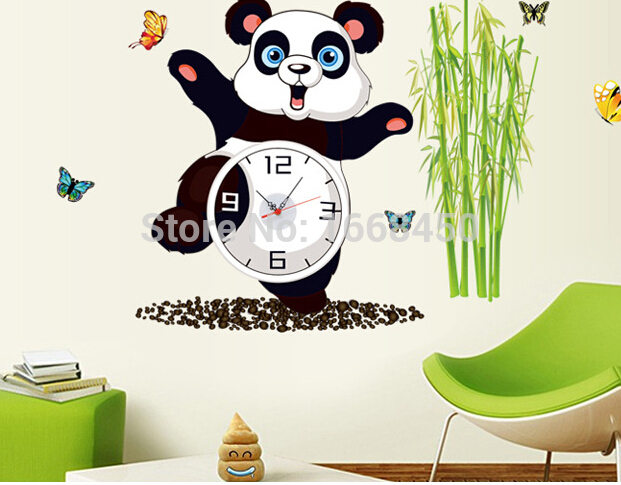 PANDA BAMBOO Wall Clock REMOVABLE Wall Decal Stickers Vinyl DIY Home Room Decor(China (Mainland))