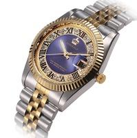 Luxury Women Wrist Watch Golden Blue Quartz Watch for ladies Dress Party 50m Water Resistant