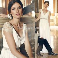Romantic Elegant Beach Wedding Dress 2015 New Custom Made A Line Short Sleeve Lace Dress Bride Crystal Floor Length Gown