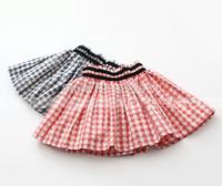 2015 Spring Children plaid pleated skirt for girls striped mini skirt tutu 90-130cm tutu skirt girl pink pettiskirt