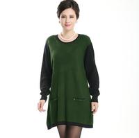 Free Shipping 2015 Autumn Winter Brand women's medium-long o-neck fashion mother Sweater Dress O neck XL XXL 3XL 4XL