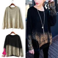 2015 Trendy Contrast Gradient Bronzing Golden Print Batwing Sleeve Knit Loose Sweater