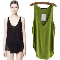 2015 summer women Candy-colored cotton modal big v-neck low Joker vest women tank top sleeveless shirt womens tops long