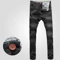 Free shipping! 2015 new men's fashion Slim micro-bomb sand black and gray jeans pants feet