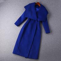 2014 High quality Fashion big lapel blue wool coat X-long sections women's coats winter coat