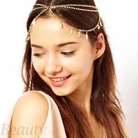 Discount Band Women Leaf Headband Head Chain Hair Jewelry Accessories Metal + Rhinestone Romantic Festival Free Shipping B16