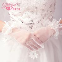 2015 bride wedding laciness chiffon bow winter short design married gloves white