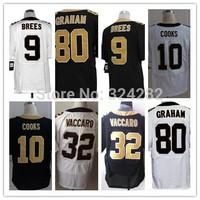 Stitched  New Orleans 9 Drew Brees 10 Brandin Cooks 80 Jimmy Graham 32 Kenny Vaccaro  White/Black  Men Elite Football Jerseys