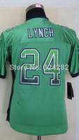 2014-15 Stitched - 24 Marshawn Lynch Women's Drift Fashion Green Elite Football Jerseys size: S-XXL