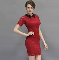 Free Shipping 2015 spring and summer elegant ol slim waist  cutout flower lace dress,