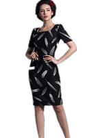 Free Shipping 2015 Spring Summer Fashion Vintage Gigh waist square collar feather print slim Pencil Dresses S M L XL
