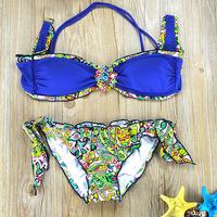 2015 New Arrival Women Sexy Women Floral Print Bathing Suit  Brand Ladies Diamond Bikini Swimwear