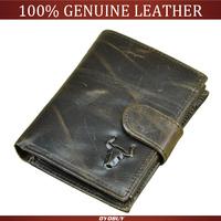 Hot Selling Vintage Casual Men wallets Genuine Leather Cowhide Men Short Trifold multi-function card holder wallet purse