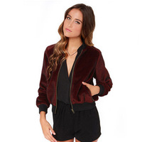 Spring Autumn women's Sport style Mohair Baseball clothing Ribbed collar fluff Coats Y0945