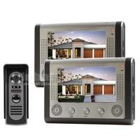 Diy 2015 7 inch Wired Video Door Phone Door Bell System Kit Home Security Entry 2 Way Intercom 2 Monitor 1 IR Camera