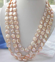 "REAL 70"" 14mm pink coin freshwater pearl necklace"