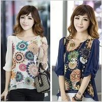 2015 blusas femininas casual fashion sweet printed chiffon shirt blouse women blouses irregular roupas femininas Plus Size