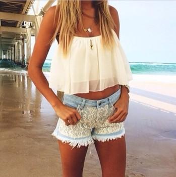 2015 новое поступление весна / лето женщины урожай лучших спинки женщин шифоновая блуза танков жилет пепе джинсы девушку жгут