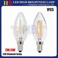 1pcs 2W 4W High Bright E14 BASE LED filament Lamp AC 220V LED Candle Light White/Warm white 360 degree angle