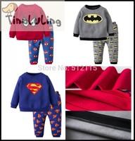One Piece Retail 2015 Fashion Winter Fleece Pyjamas,Kids Superman Funny Pajama,Boys Batman Pijamas Children Spider-man Sleepwear