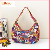 In Stock,Promotion Bohemia 100% Genuine Leather Bags Women Fashion Floral Handbags Ladies Shoulder Bag 2015