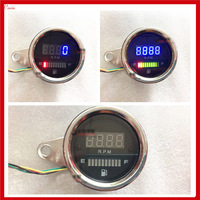 New Universal 2 function in 1 12v Motorcycle Fuel Oil Gauge Meter Tachometer LED Oil Fuel level Scale Indicator